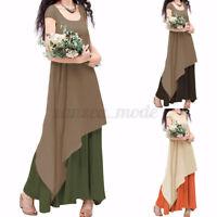 ZANZEA Women Crew Neck Tunic Long Shirt Dress Oversize Tiered Maxi Sundress Plus