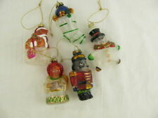 Glass Christmas Ornaments Bear Snowman Angel Soldier Stocking Lot of 5