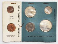 1966 Australia Decimal Card 6 Coin Uncirculated Set Royal Mint Silver 50c