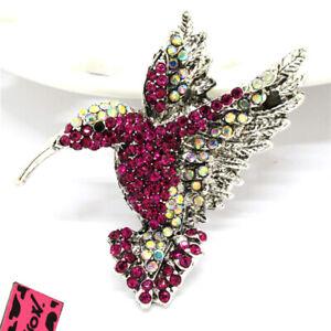 Betsey Johnson Vintage Purple Crystal Silver Hummingbird Rhinestone Brooch Pin