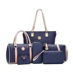 6PCS Women's Bag Set Synthetic leather Ladies Handbag Shoulder & Wallet Bags