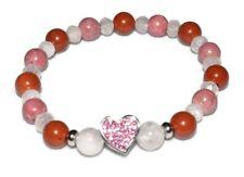 Love Crystal Bracelet Red Jasper Rose Quartz Rhodonite Rhinestone Steel Heart