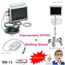 Vital Signs ICU Patient Monitor+Capnography ETCO2+Rolling Stand 7-Parameter USA