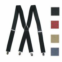 Men's Braces Adjustable Clip- On Suspenders Solid Color X- Back Formal Dress Tux