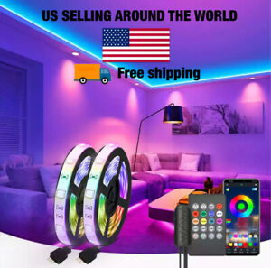 LED Strip Lights 5050 Music Sync Bluetooth Remote Room Light Kit