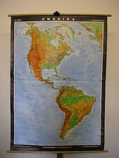 Schulwandkarte Wandkarte Karte Amerika America 117x166 Neue Welt 1987 New World