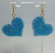 Blue Large Heart Holo Glitter Charms Earrings E100 Kitsch Fun 5.5cm Long Gold