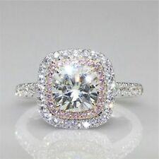 Certified 3.35Ct White Cushion Cut Diamond Halo Engagement Ring 14K White Gold