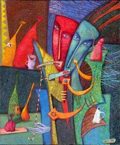 """Avantgarde Andrej Losovoj Öl Leinwand """"Menschen mit schälendem Mund"""" 120x100 cm"""