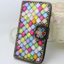 Magnetic Color Diamonds flower Gems PU leather slots Flip wallet case cover #8