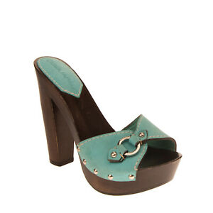 RRP €595 DSQUARED2 Leather Mule Sandals EU 37 UK 4 US 7 Studded Made in Italy