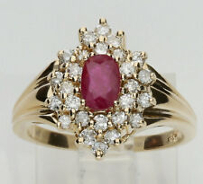 Diamond ruby ring 14K yellow gold cluster cocktail oval round brilliant .9C 5.1G