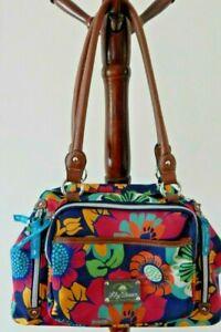 "Lily Bloom ""Green Living""  Purse Tote Handbag Floral Multi-Color Bag EUC"
