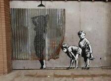 "Banksy Lady Shower Boys Peeping  Picture 16""X20"" Canvas Graffiti Urban Art Print"