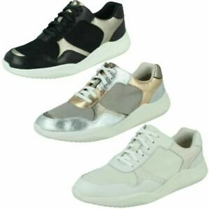 Ladies Clarks Casual Everyday Lace Up Leather & Textile Trainers Sift Lace
