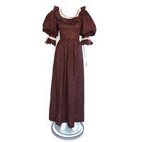 Vintage 1970s Prairie Floral Calico Brown Maxi Dress Puff Sleeve sz XS/S 7975