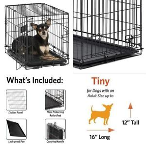 Folding Crate Pet Crates Dog Cage Single Door 18Lx12Wx14H  Inch W/ Divider Kenne