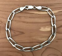 Vintage Italy TDP Sterling Silver Diamond Cut Long Link Curb Chain Bracelet 7""