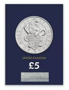 THE QUEEN'S BEAST'S £5 2017 UK LION OF ENGLAND FIVE POUND BU Lot 1