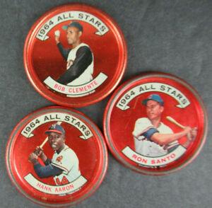 1964 TOPPS BASEBALL COINS N.L. ALL-STARS - CLEMENTE, AARON & SANTO