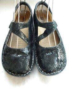 Alegria JIL-561 Black Leather Paisley Mary Jane Comfort Shoes Size 40
