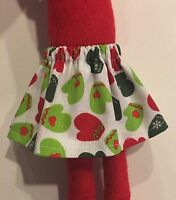 CHRISTMAS ELF GIRL DOLL CLOTHES SKIRT WHITE w MITTENS + RED HEARTS GREEN GLOVES