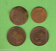 #D272. Four Old Coins , One Side Smoothed For Engraving