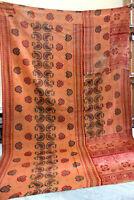 "Old Vintage Kantha Quilt Ralli Bedspread Reversible Indian Sari Throw 52"" x 92"""