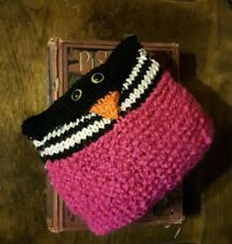 Handmade knit owl, pink & black & white stripes