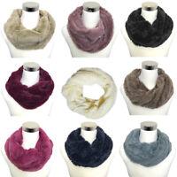 LeahWard Women/'s Soft Faux Fur Fluffy Snood Super Soft Fluffy Scarf Neck Warmer