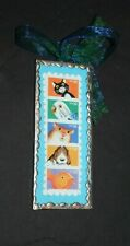 """SMALL FOLK ART WALL HANGING 4 7/8"""" X 2"""" MADE FROM STRIP OF 32 CENT US STAMPS"""