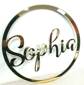 Personalised Wooden Any Name Colour Hoop Acrylic Wreath Circle Loop Plaque 20cm