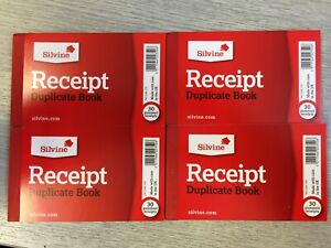 4x Silvine (63 x 106mm) Duplicate Cash Receipt Book 60 Sheets Gummed (228)