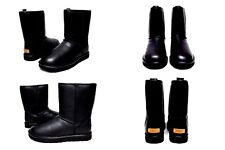 Ugg Classic Short Cashmere Leather Black Luxury Boot Size 8 US