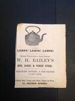 H8-1 Ephemera 1896 Advert Falmouth W H Bailey Lamps Baths For Hire