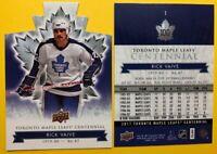 2017-18 UD Toronto Maple Leafs Centennial #1 Rick Vaive Base + Die Cut