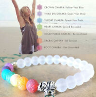 Chakra Lucky Bracelet Healing Lava 7 Natural Stone Beaded Diffuser Aromatherapy