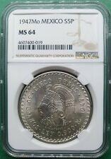 1947Mo MEXICO 5 PESOS SILVER NGC MS 64