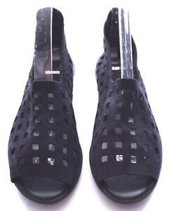 ARCHE Drick Black Nubuck Suede Open Toe Back Zip Sandals France Size 39 US 8