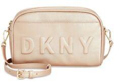 DKNY NWT $138 Tilly Gold Logo Embossed Camera Bag Crossbody Zip Around Clutch