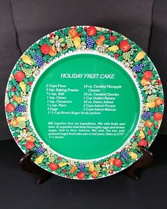 "Vintage Christmas Tin Metal Round Serving Fruit Cake Tray Plate Cookies 10"""