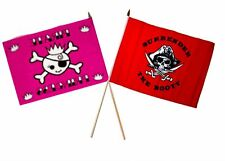 "12x18 12""x18"" Wholesale Combo Pirate Princess & Red Surrender Booty Stick Flag"