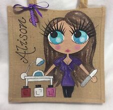 Personalised Nail Technician Jute Celebrity Style Handbag Hand Bag Gift