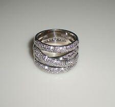 KAY Levian 18K White Gold 1.31ct Criss Cross Bypass Diamond Band Ring  RARE!