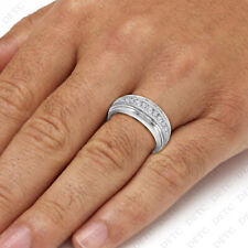 10k White Gold Finish Round Cut Diamond Engagement Band Men's Pinky Wedding Ring