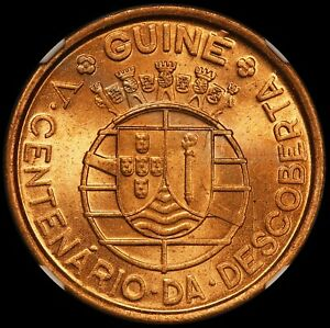 1946 Portuguese Guinea Bissau 1 One Escudo Coin - NGC MS 65 RD - KM# 7 - TOP POP
