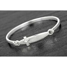 Equilibrium Silver Plate Christening Cross Bangle Baby Newborn Girls Boys Gift