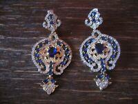 Kronjuwelen gesucht ? üppige Ohrringe Barock Stil 925er Silber gold saphir blau