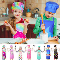 Kids Apron Chef Hat Set Childrens Cooking Baking Apron Boys Girls Playtime Craft