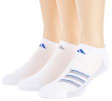 3 Pair Adidas No Show Socks, Men's Shoe Size 6-12, White, Blue, Athletic L29